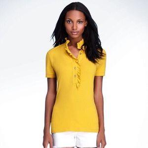 Tory Burch Lidia Ruffled Polo Shirt Gold Yellow